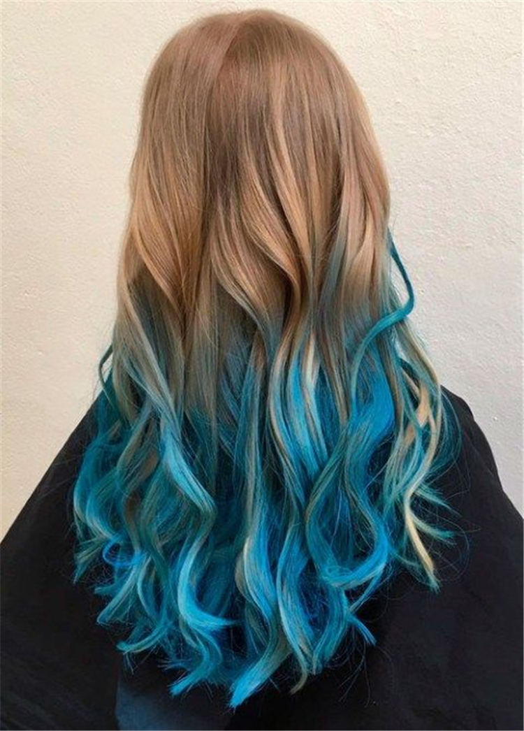 Bold And Pretty Blue Ombre Hair Color