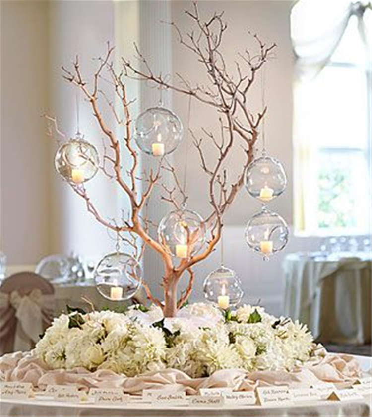 50 Romantic And Comfortable Rustic Winter Wedding Centerpiece