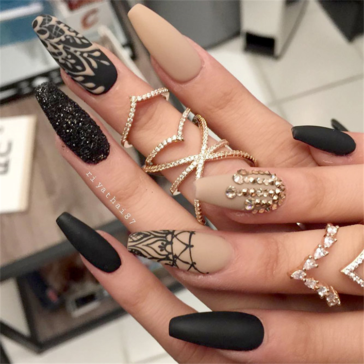 Matte Black Nails You Should Try; Black Nails; Coffin Nail; Black Coffin Nail; ; Matte Black Coffin Nails; ; #Cute Black Matte Nails #Patterned Matte Black Nails #coffin #nails #Fabulous Nail#Black & Color Nail #Glitter Matte Black Nails