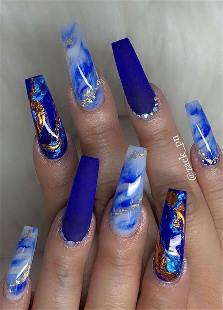 40 Gorgeous Dark Blue Coffin Nail Designs You Must Try This Winter Page 18 Of 40 Cute Hostess For Modern Women