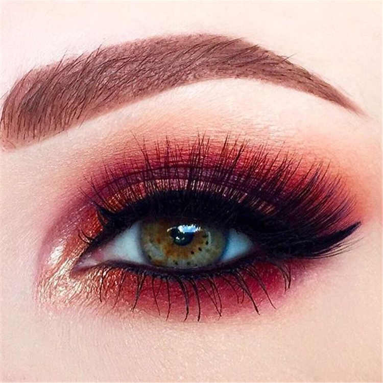 Amazing Red Eyeshadow Makeup Ideas For The Coming Valentine's Day; Valentine Makeup; Makeup Looks; Valentine Makeup Looks; Natural Makeup; Natural Looks; Red Eyeshadow Makeup Looks; Valentine's Day; Red Eye Makeup; Red Eyeshadow Eyeshadow#makeup#makeuplooks#holidaymakeup#naturalmakeup#Chirstmasmakeup#redeyeshadow#redeyemakeup#Valentine's Day #valentinemakeup