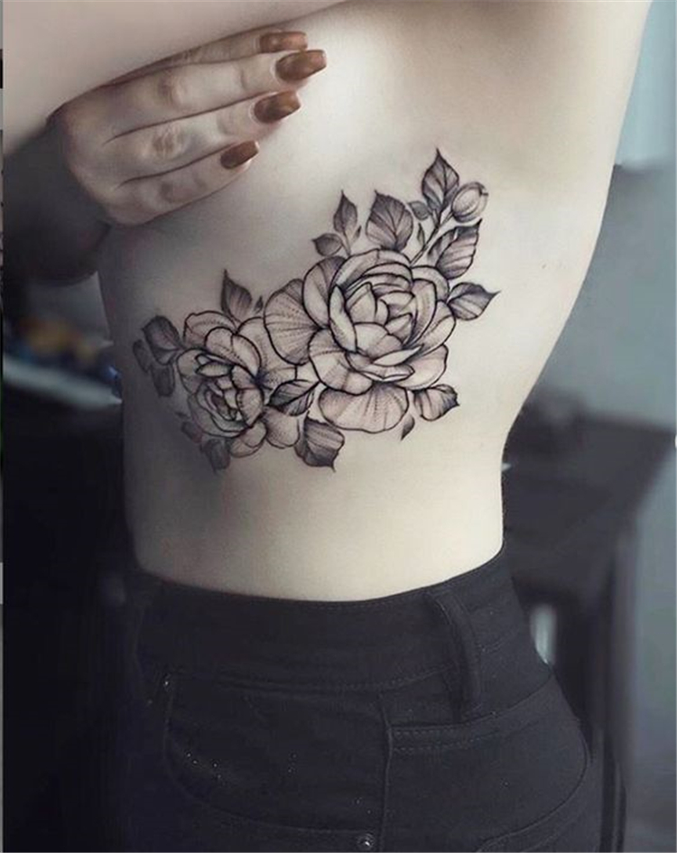Charming Side Boob Floral Tattoo Designs You Would Love To Try; Charming Side Boob Tattoo Ideas Design; Flower Tattoo Ideas; Flower Tattoo; Floral Tattoo; Rib Tattoo Ideas; Tattoo Design Female; Ink Tattoo; Black Tattoo Ideas; Woman Tattoo Ideas, #tattoo #flowertattoo #sideboob #inktattoo #sideboobtattoo