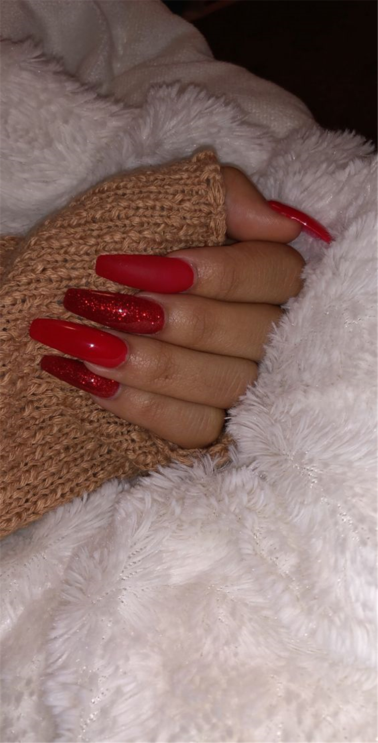Hottest Red Long Acrylic Coffin Nails Designs Of 2019; Red Long Acrylic Coffin Nails; Red Nails Designs; Long Acrylic Nails; Acrylic Nails; Coffin Nails; Red Long Coffin Nails; Long Coffin Nails; #CoffinNails #RedNails #AcrylicNails