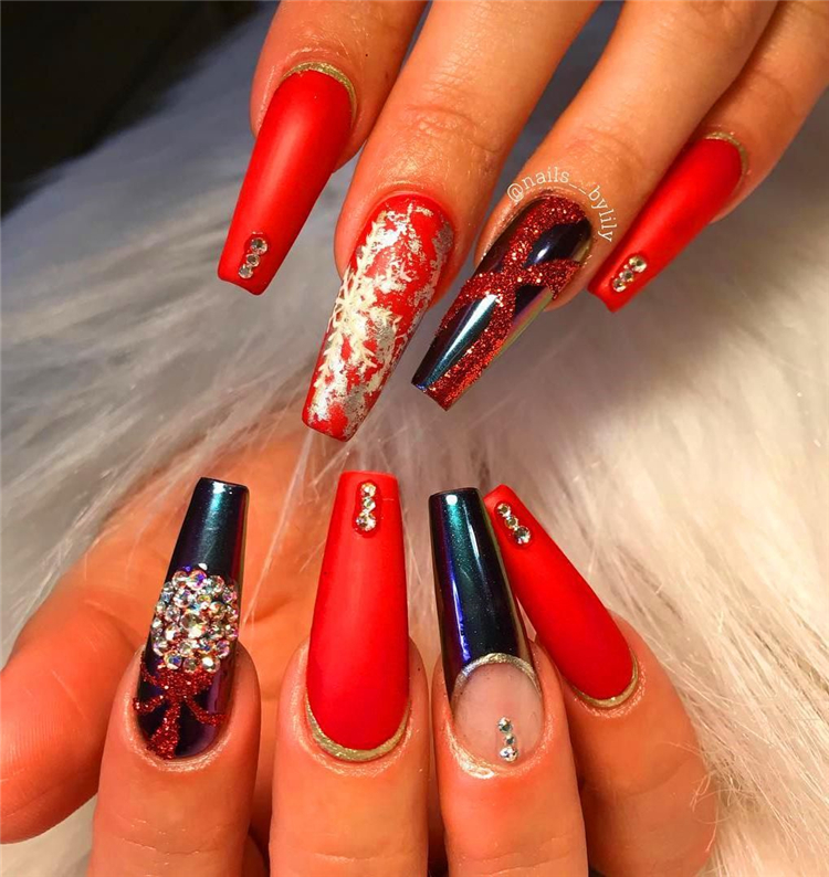 Popular Coffin Nails Designs Of 2020; Red Long Acrylic Coffin Nails; Red Nails Designs; Long Acrylic Nails; Acrylic Nails; Coffin Nails; Red Long Coffin Nails; Long Coffin Nails; #CoffinNails #RedNails #AcrylicNails