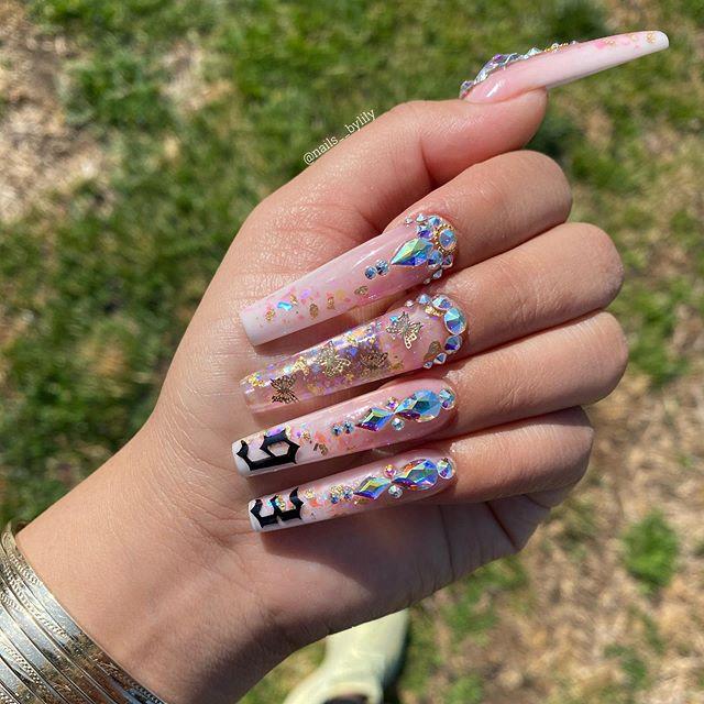 spring square acrylic nails designs; square acrylic nails; spring nails; white nails; pink nails; red nails; acrylic nails; square nails; square acrylic nails designs; long nails;blingnails#nailsart