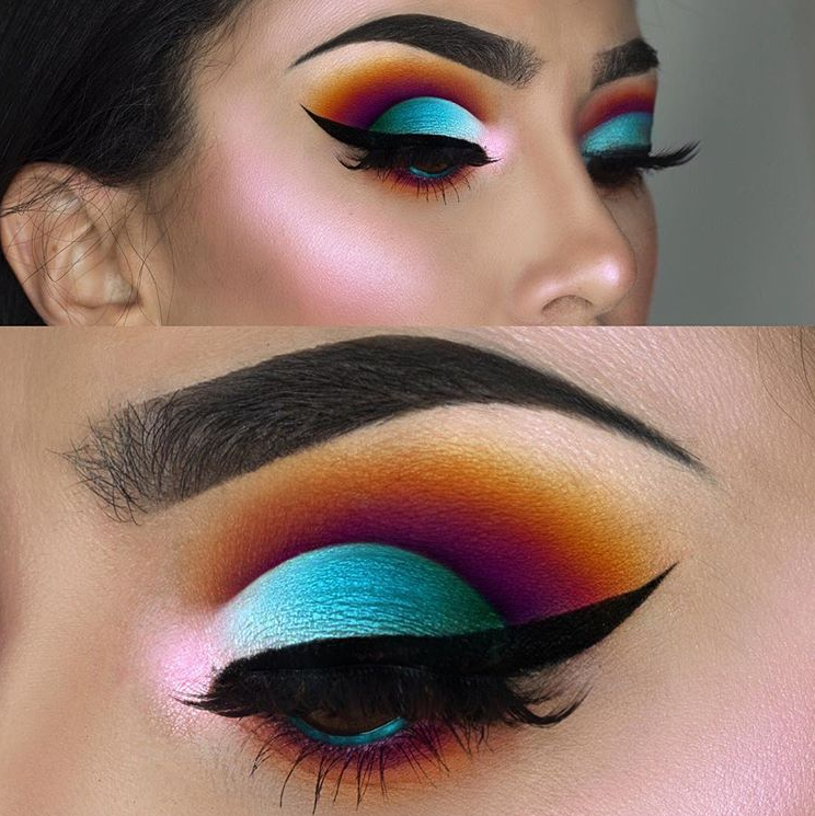 Night Party Eye Makeup Ideas You Must Try; Party Eye Makeup; Night Makeup; Night Party Makeup; Smoking Eyes; Smoking Eyes Makeup; Color Eye Shadows; Glitter Eye Shadows; Long Eyelashes; Curl Eyelashes; Thick Eyelashes;