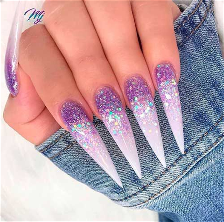 Stunning And Gorgeous Glitter Nail Designs For You; Glitter Nails; Glitter Acrylic Nails; Acrylic Nails; Coffin Nails; Acrylic Coffin Nails; Glitter Coffin Nails; Gliiter Square Nails; Glitter Stiletto Nails; #glitternails #glitter #coffinnails #acrylicnails #acryliccoffinnails #glittersquarenail #glitterstilettonail