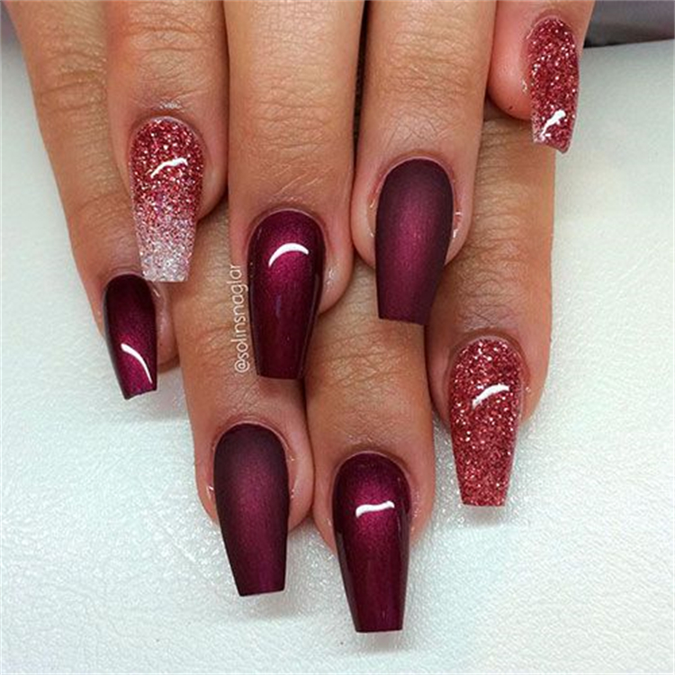 Gorgeous Burgundy Nail Designs You Must Fall In Love With; Burgundy Nails; Nails; Nail Design; Burgundy Nail Color; Nail Color; Burgundy Square Nails; Burgundy Coffin Nails; Burgundy Stiletto Nails #nails #naildesign #burgundynail #burgundynaildesign #burgundycolor #coffinnail #stilettonail #squarenail #burgundycoffinnail #burgundystilettonail