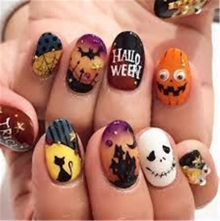Cute Halloween nail design, elegant and beautiful; square nails; round nails; pointed nails; pumpkin nails; glitter nails;