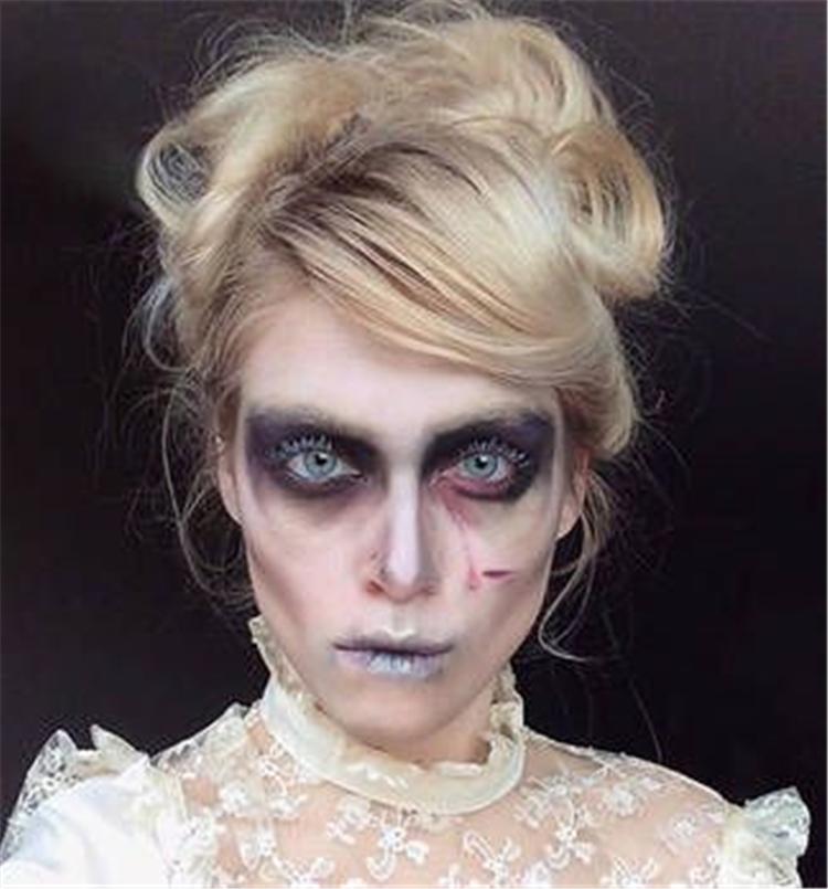 Eye-Catching,Halloween,Makeup Looks,Suit,Halloween Makeup Looks,Zombie makeup,clown makeup,manga makeup