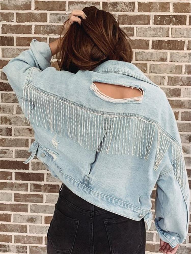 Fall,Fashion,Items,Fall fashion items,Sweater,Rainbow openwork sweater,Letter T-shirt,Thin denim jacket