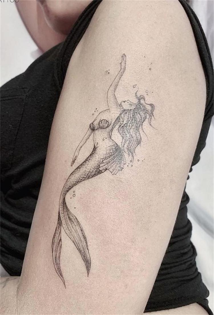 Gorgeous Mermaid Tattoo Designs To Make You Look Sexy; Mermaid Tattoo Ideas; Mermaid Tattoo; Mermaid; Watercolor Mermaid Tattoo Ideas; Black And White Mermaid Tattoo Ideas; #tatttoo #tattooideas #mermaidtattoo #mermaidtattoodesign