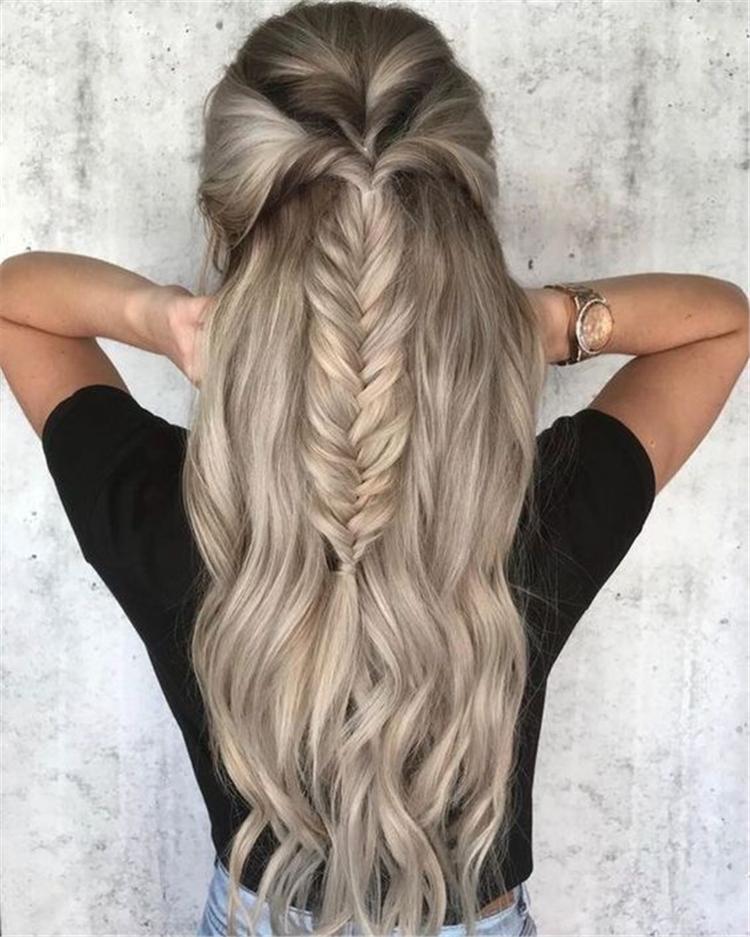Hairstyles, Braided Hair ,Girls Braided,Long Hair Waterfall,Side-comb braided hairstyle,Centrally divided pure side braided twist ,braided twist