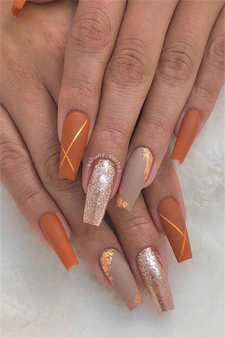 Gorgeous Fall Nail Designs To Make You Look Elegant; Fall Nail; Nail; Nail Art; Fall Square Nail; Fall Coffin Nail; Fall Stiletto Nail; Fall Matte Nail; Fall Glitter Nail #nail #nailart #naildesign #fallnail #fallsquarenail #fallcoffinnail #fallstilettonail #fallglitternail #fallmattenail