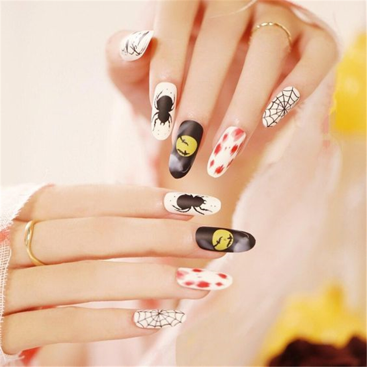 Halloween,Stylish Nails,Nails,Different Shapes,Square halloween nails,Oval halloween nails ,Pointed halloween nails