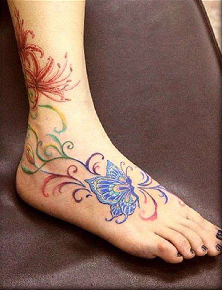 Tattoo,Unique,Stylish,Tattoo Designs,Ankle Flower Vine Tattoo,Bracelet tattoo,Tattoos on Girls Back Neck